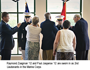 Paul Jasperse '12 and Raymond Zaagman '12 are sworn in as 2nd Lieutenants in the Marine Corps