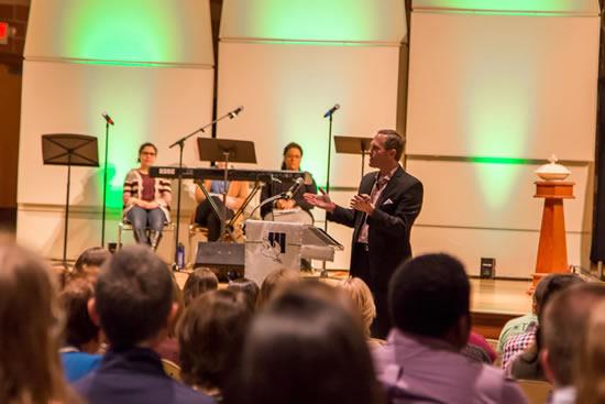 President Dykstra speaking at Chapel