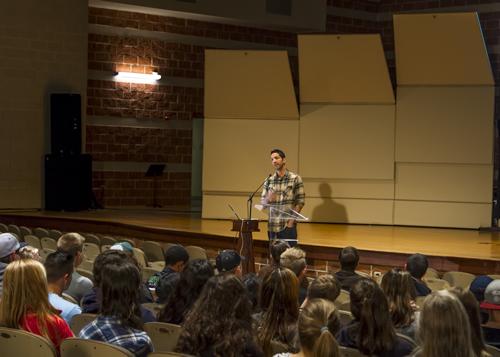 Josh Larsen speaking to freshman
