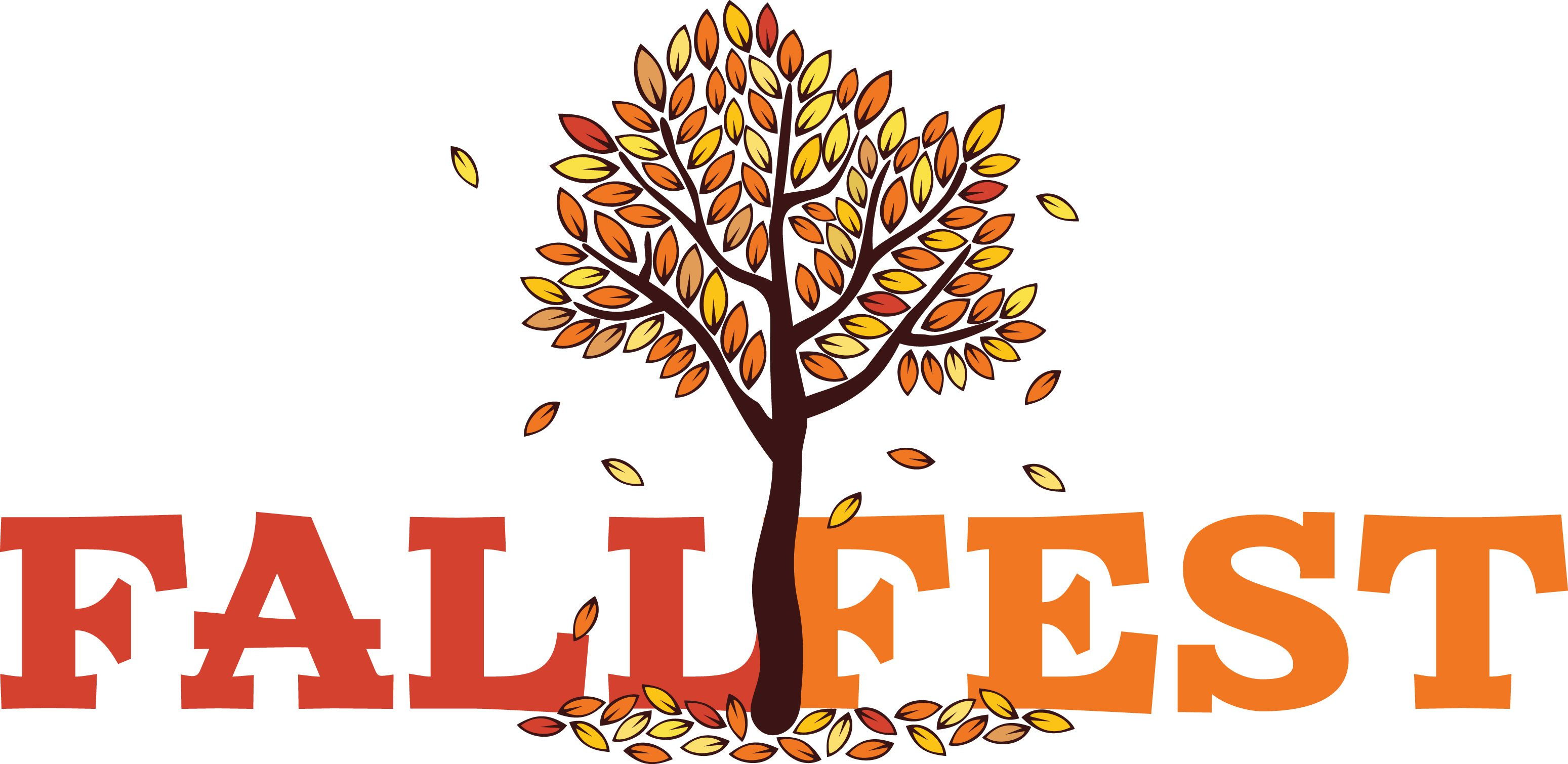 Clipart of a tree in autumn with the title FALLFEST