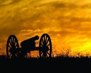The CIvil War - cannon at sunset