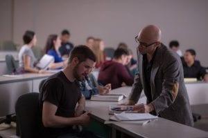 Professor advising student