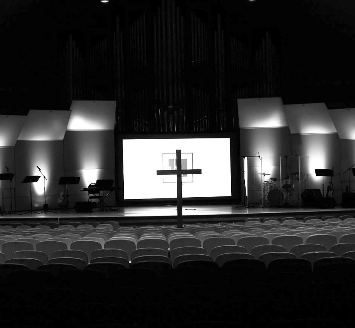 Cross in Chapel B&W
