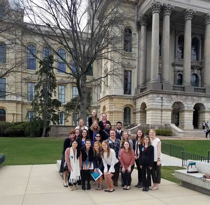 Social work students and professors attend the 2018 Advocacy Day in Springfield, IL on April 11