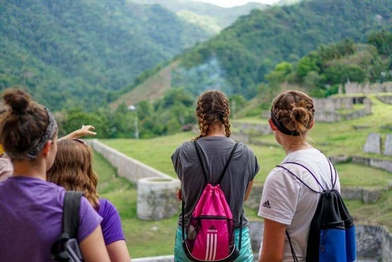 Haiti Trip - students overlooking ruins
