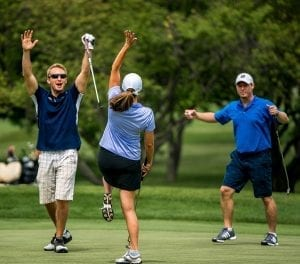 Golfers Celebrating Hole in One at TAC Golf Outing