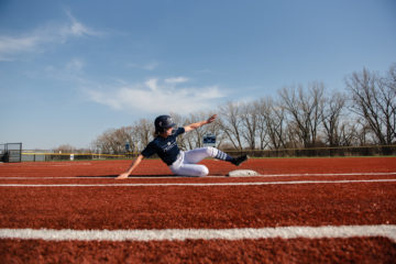 Softball - batter sliding into plate
